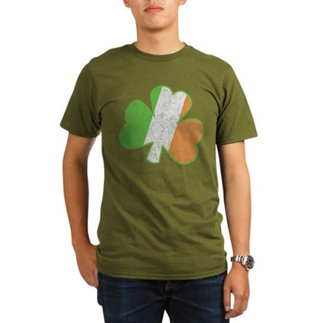 Vintage Irish Shamrock Organic Mens Dark T-Shirt