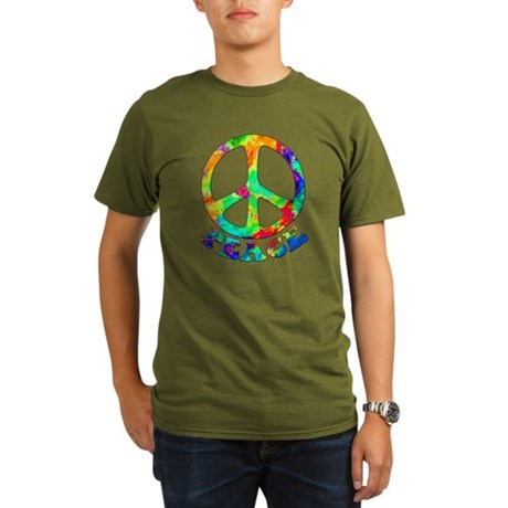 Rainbow Pool Peace Symbol Organic Men's T-Shirt (d