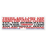 THOUGHT CRIMES LEGISLATION Bumper Sticker