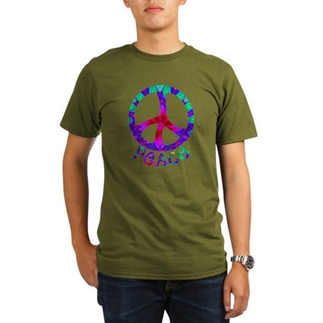 Flowery Peace Symbol Organic Men's T-Shirt (dark)