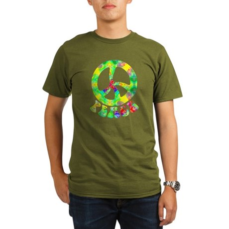 Flower Child Peace Organic Men's T-Shirt (dark)