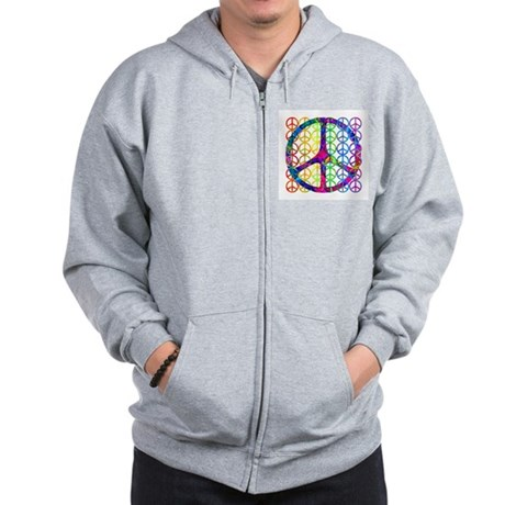 Rainbow Peace Symbols Zip Hoodie