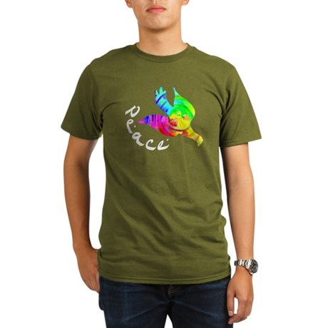 Rainbow Dove Peace Organic Men's T-Shirt (dark)