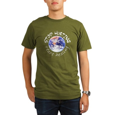 Start Healing the World Organic Men's T-Shirt (dar