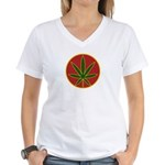 Rasta Leaf Women's V-Neck T-Shirt