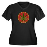 Rasta Leaf Women's Plus Size V-Neck Dark T-Shirt