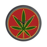Rasta Leaf Wall Clock