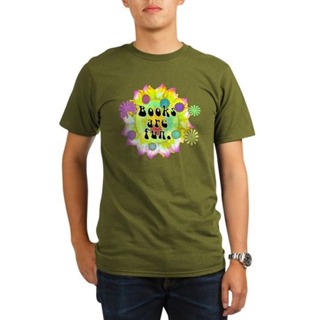 Books Are Fun Organic Men's T-Shirt (dark)
