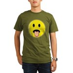 Smiley Face - Tongue Out Organic Men's T-Shirt (dark)