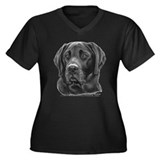 Diesel, Black Lab Women's Plus Size V-Neck Dark T-