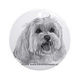 Sadie, Maltese Ornament (Round)