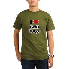 I Love Bull Dogs Organic Men's T-Shirt (dark)