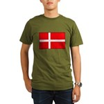 Danish / Denmark Flag Organic Men's T-Shirt (dark)