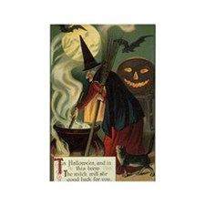 Vintage Halloween Witch Rectangle Magnet (100 pack