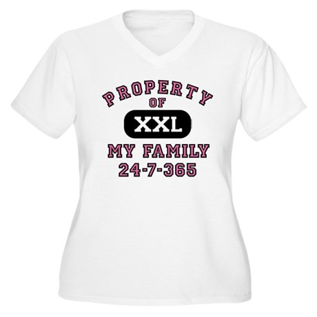 Property of Family Mom Women's Plus Size V-Neck T-