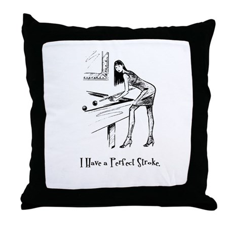 Lady Billiards Throw Pillow