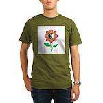 Retro Yin Yang Flower Organic Men's T-Shirt (dark)