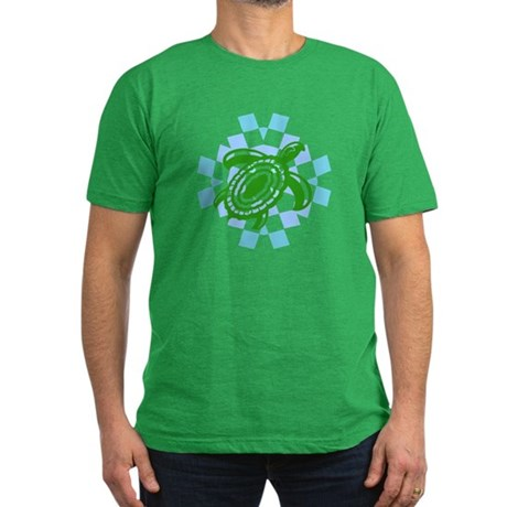 Green Cutout Turtle Men's Fitted T-Shirt (dark)