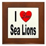 I Love Sea Lions Framed Tile