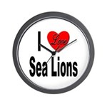 I Love Sea Lions Wall Clock