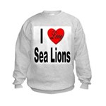 I Love Sea Lions (Front) Kids Sweatshirt