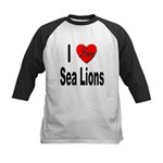 I Love Sea Lions Kids Baseball Jersey