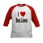I Love Sea Lions (Front) Kids Baseball Jersey