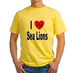 I Love Sea Lions Yellow T-Shirt