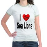 I Love Sea Lions (Front) Jr. Ringer T-Shirt