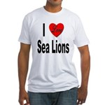 I Love Sea Lions (Front) Fitted T-Shirt