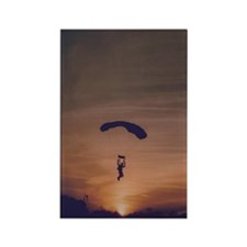 Rectangle Magnet (100 pack) with sunset skydiver
