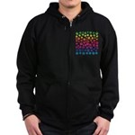 Rainbow Cat Tracks Zip Hoodie (dark)