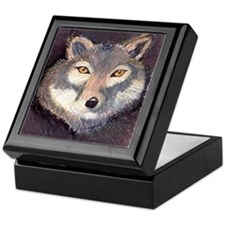 Cute Grey wolf Keepsake Box