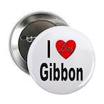 I Love Gibbon Button