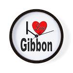 I Love Gibbon Wall Clock