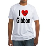 I Love Gibbon (Front) Fitted T-Shirt