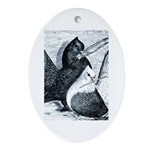Indian Fantail Pigeons Oval Ornament