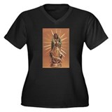 Virgin of Guadalupe Women's Plus Size V-Neck Dark