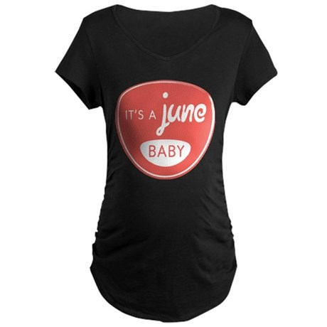 Red It's a June Baby Maternity Dark T-Shirt