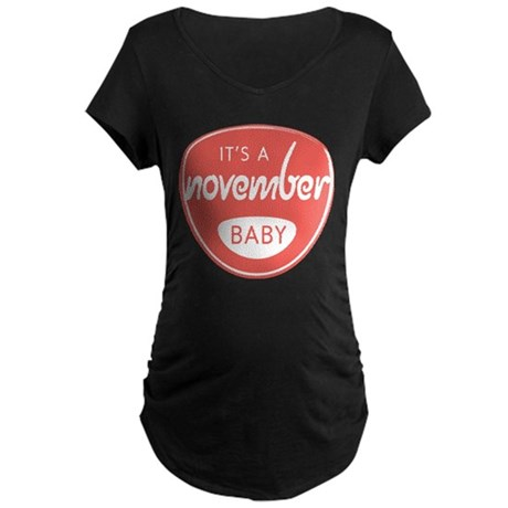 Red It's a November Baby Maternity Dark T-Shirt