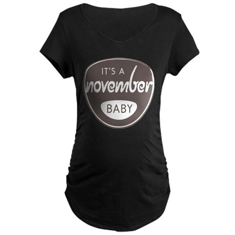 Gray It's a November Baby Maternity Dark T-Shirt