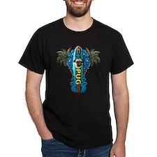 Beach Pug Black T-Shirt