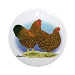 GL Wyandotte Rooster and Hen Ornament (Round)