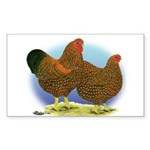GL Wyandotte Rooster and Hen Rectangle Sticker
