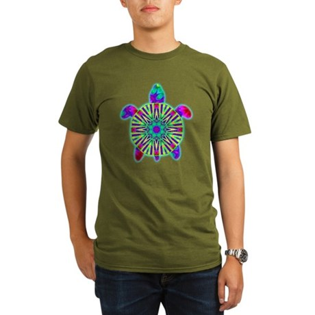 Colorful Sea Turtle Organic Men's T-Shirt (dark)