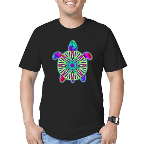 Colorful Sea Turtle Men's Fitted T-Shirt (dark)
