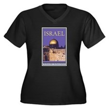 Israel Women's Plus Size V-Neck Dark T-Shirt