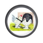 Porcelain d'Uccle Rooster and Wall Clock