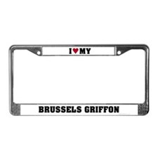 I Love My Brussels Griffon License Plate Frame