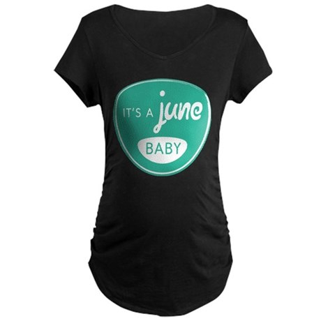Seafoam It's a June Baby Maternity Dark T-Shirt